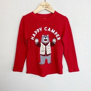 Old Navy Happy Camper Bear Red Thermal Tee NWT
